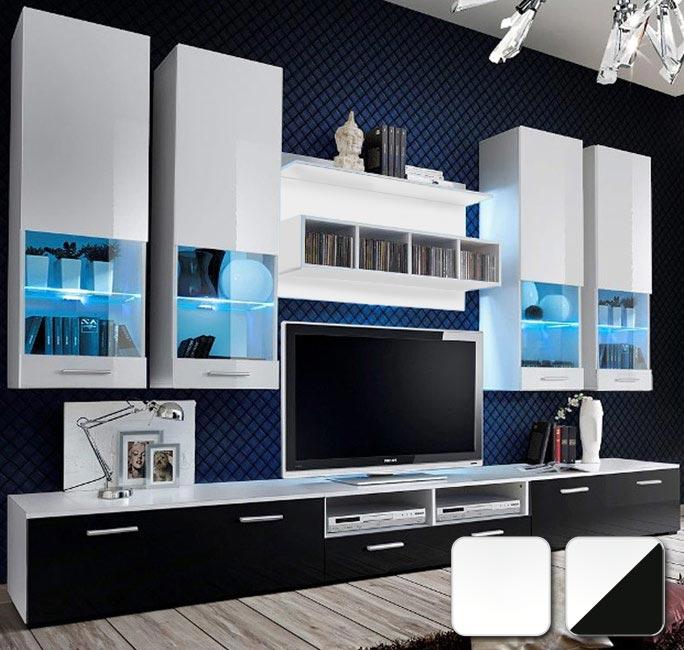 Fantástica serie de muebles de salón en blanco o en blanco y negro