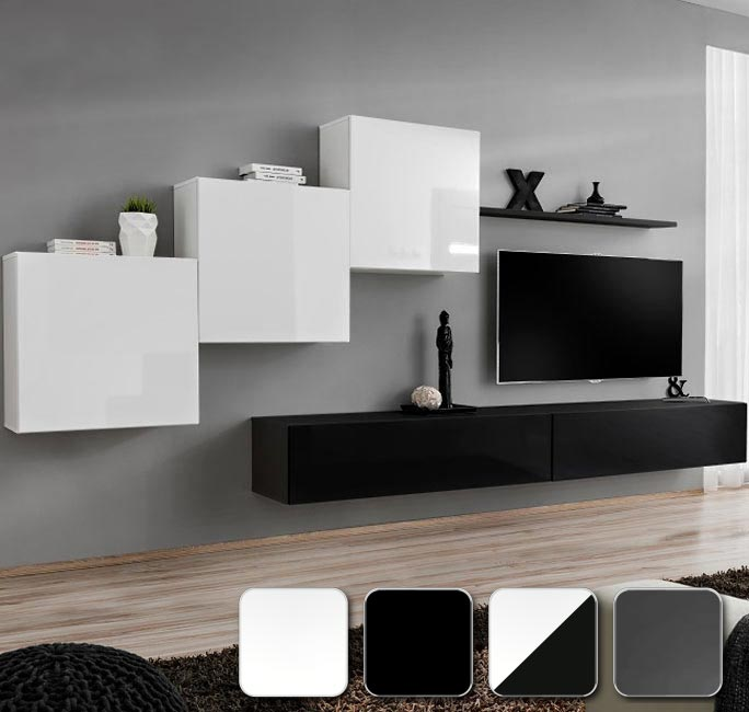 Tres módulos cuadrados, dos horizontales y una estantería modelo Berit
