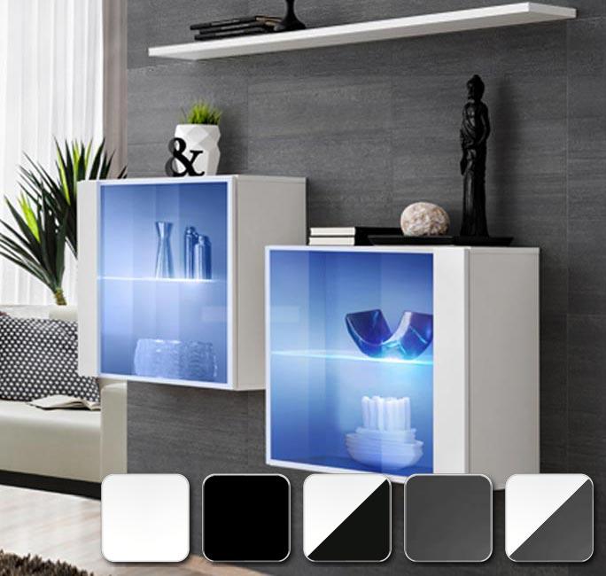 Combina en blanco, negro y gris con la gama de muebles de salón Berit