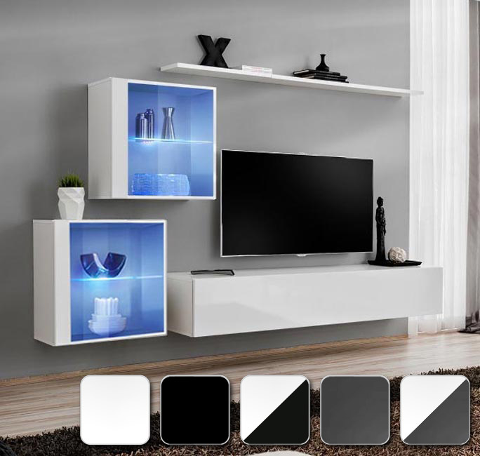 Combina en blanco, negro y gris con la gama de muebles de salón Berit 6