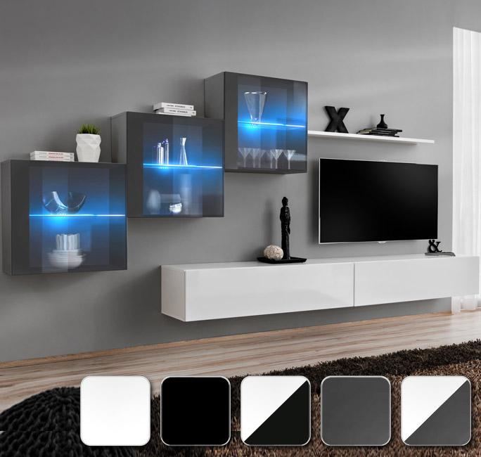 Gama de muebles de salón Berit 7. Tres módulos cuadrados con luz LED, dos horizontales y una estantería.