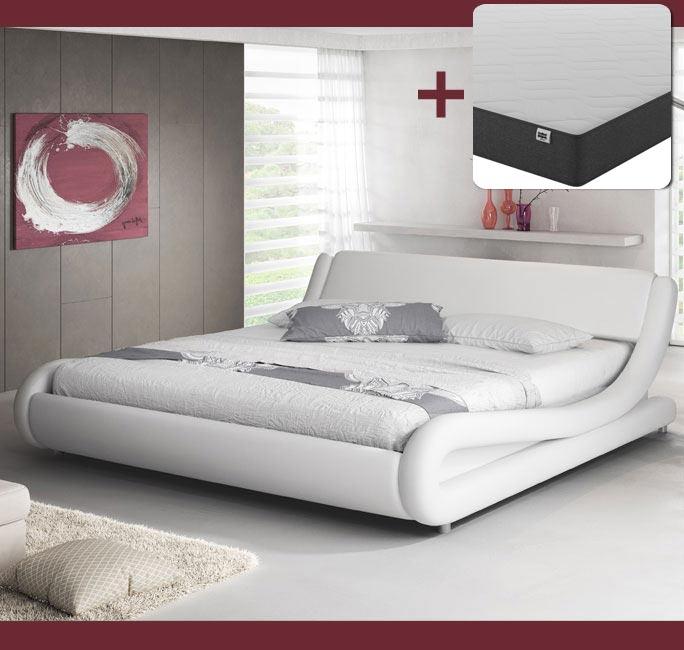 Cama de diseño Alessia en color blanco con colchón
