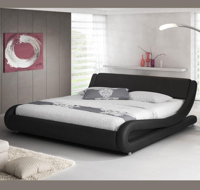 Cama de diseño Alessia en color negro para diferentes tamaños de colchón