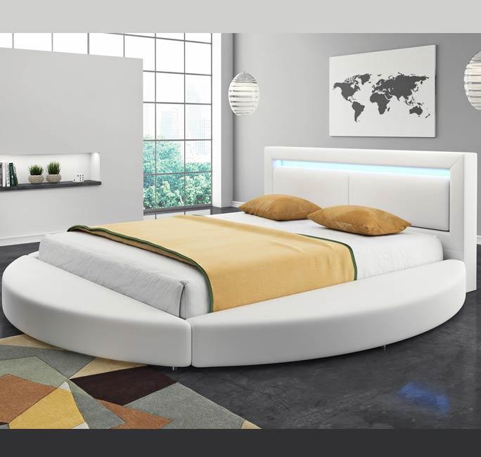 Cama de diseño redonda Caren en color blanco