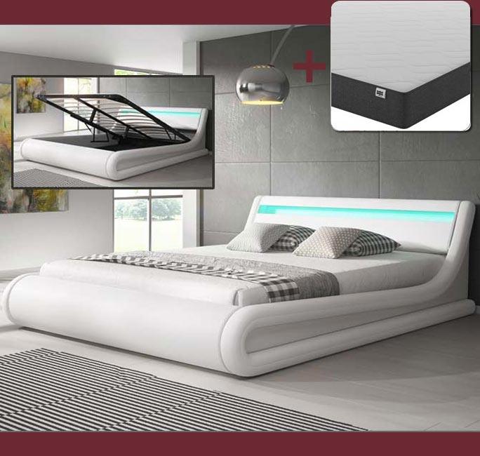 Cama de diseño Parisina en color blanco con colchón