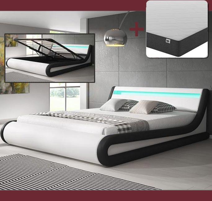 Cama de diseño Parisina en color blanco y negro con colchón