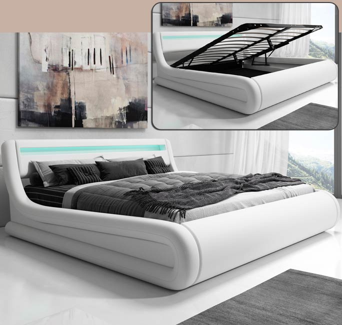 Cama doble de diseño Rodas en color blanco