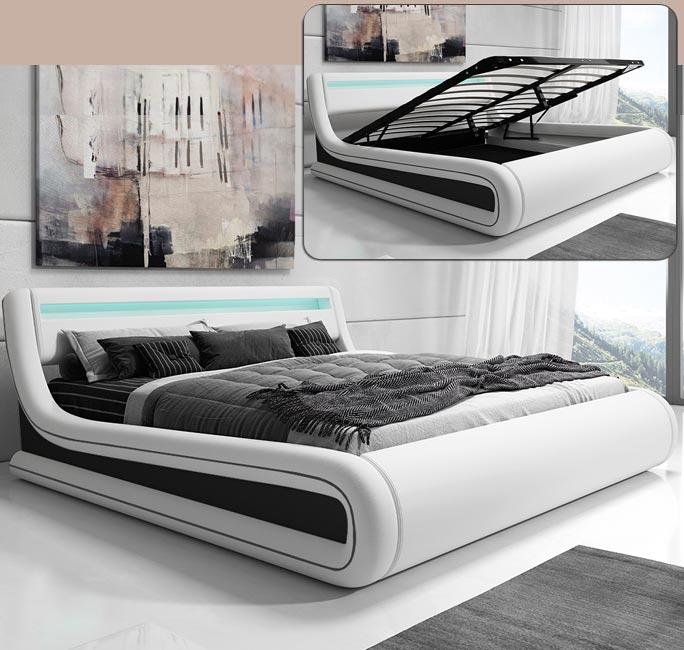 Cama doble de diseño Rodas en color blanco y negro