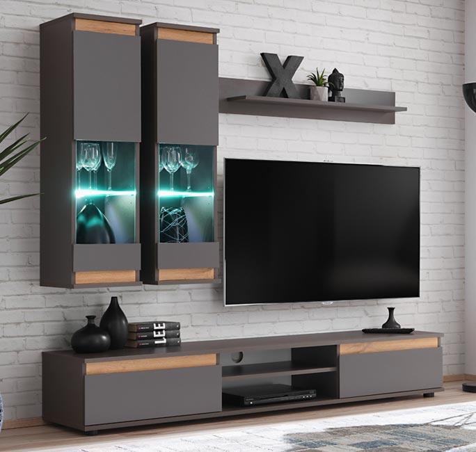 Mueble de salón modelo Borneo color gris antracita y roble (1,75m)