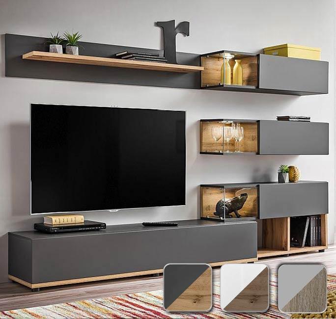 Mueble de salón modelo Olson color gris y roble (2,4m)
