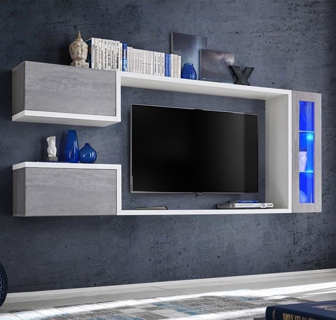 Mueble de salón modelo Urko en color blanco y gris cemento (2,3m)