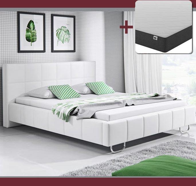 Cama de diseño Sofía en color blanco con colchón