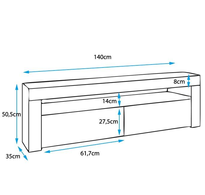 Mueble TV Modelo Aker Color Negro 140x50,5cm