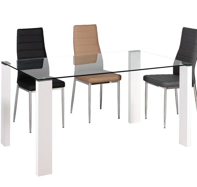 Mesa de comedor anisa 140 x 90cm patas blancas cristal for Mesa cristal 140 x 90