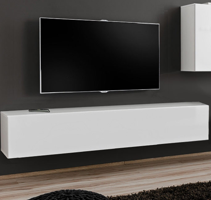 Mueble tv modelo berit 180x30 en color blanco for Mueble tv lacado blanco
