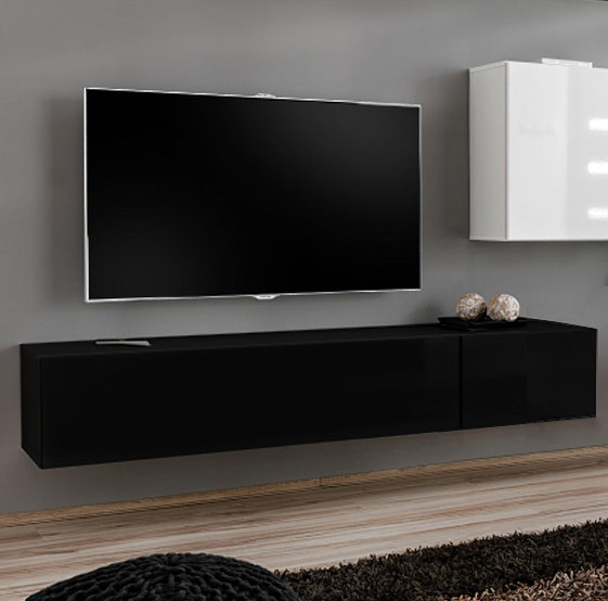 Mueble tv modelo berit 180x30 en color negro - Mueble tv negro ...