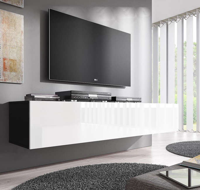 Mueble tv modelo forli xl en color negro con blanco - Mueble tv negro ...
