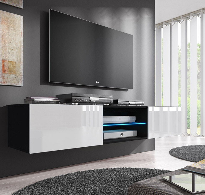 Mueble tv modelo tibi 160 cm en color negro y blanco for Mueble tv negro