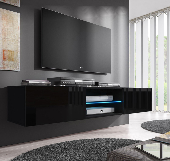 Mueble tv modelo tibi 160 cm en color negro for Decoracion mueble tv