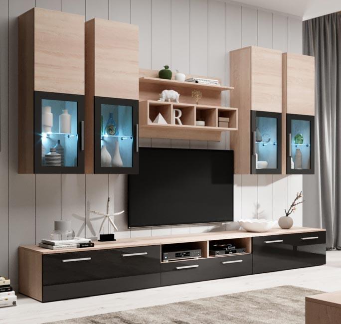 Mueble de salon modelo acosta color sonoma y negro 3 m - Modelos de muebles de salon ...