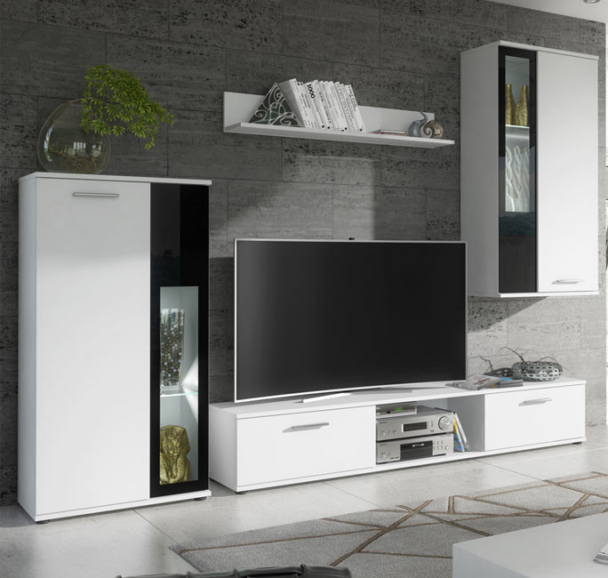 Mueble de sal n atila blanco mate y cristal negro 2 35m for Mueble salon blanco y negro