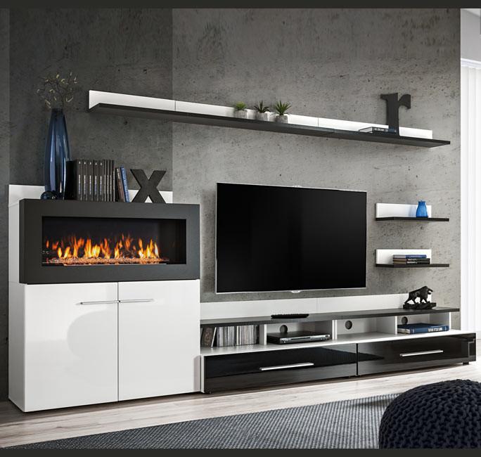 Mueble de salón con chimenea Erica blanco y negro (2,90m)