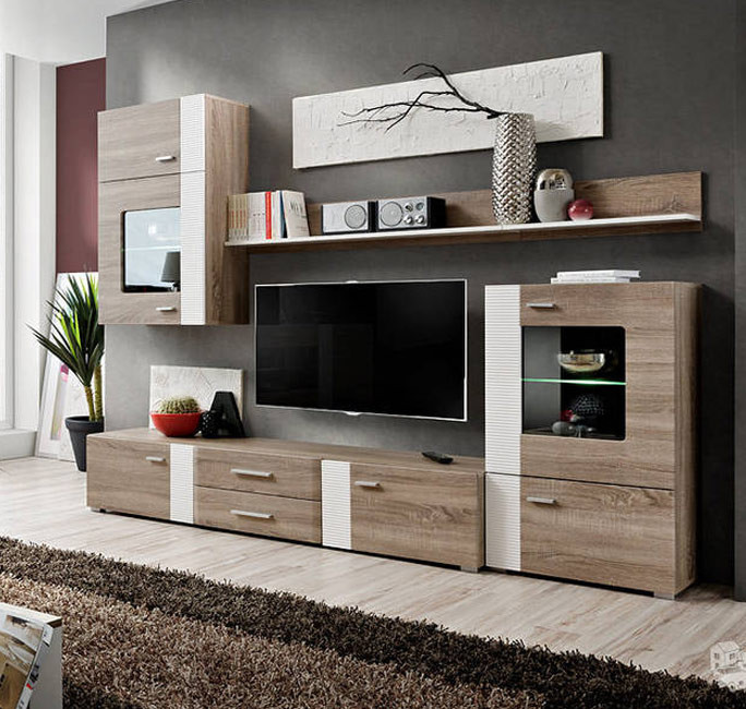 Mueble de sal n monica color truflowy blanco for Muebles para tv conforama