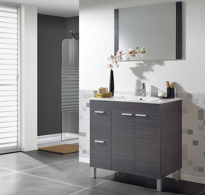 Mueble de baño de 2 puertas + 2 cajones + lavabo + espejo modelo 305450G