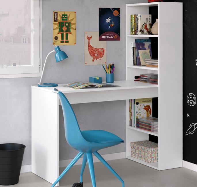 Escritorio y estantería color blanco artik Mod 008314A