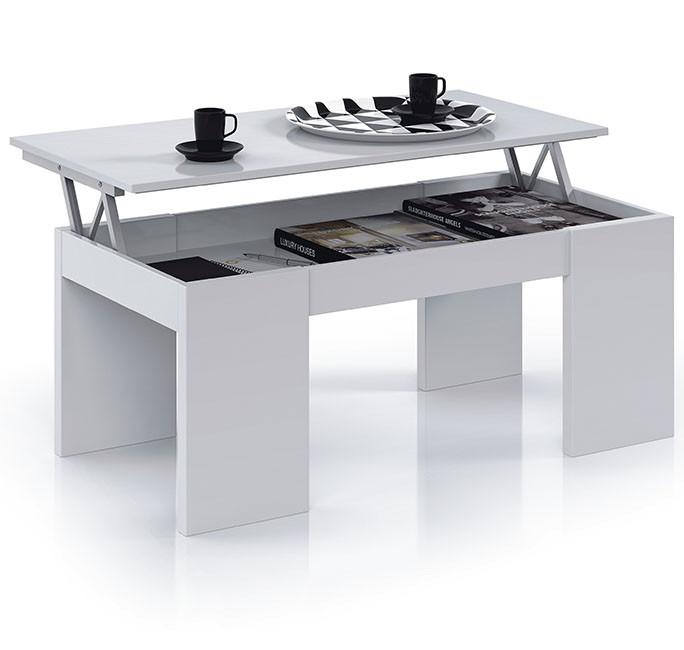Mesa de Centro Elevable color blanco brillo Modelo 001637BO