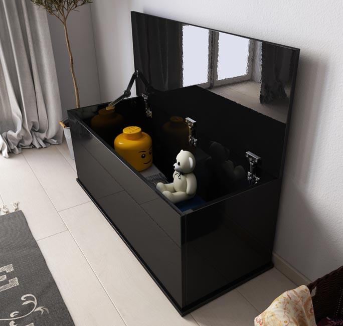 Baúl de almacenamiento Ariel en color negro