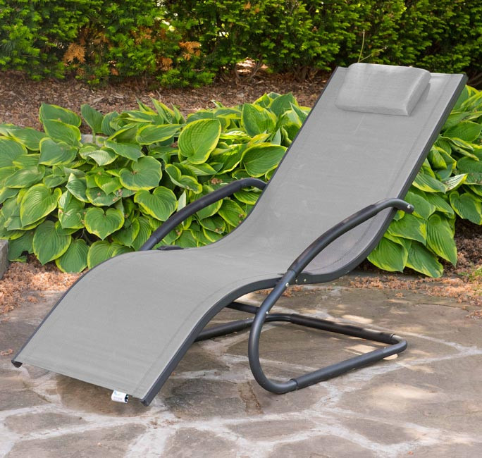 Tumbona wave Lounger - Aluminum - Grey on Matte Black