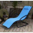 Tumbona wave Lounger - Aluminum - Ocean Blue on Matte Grey