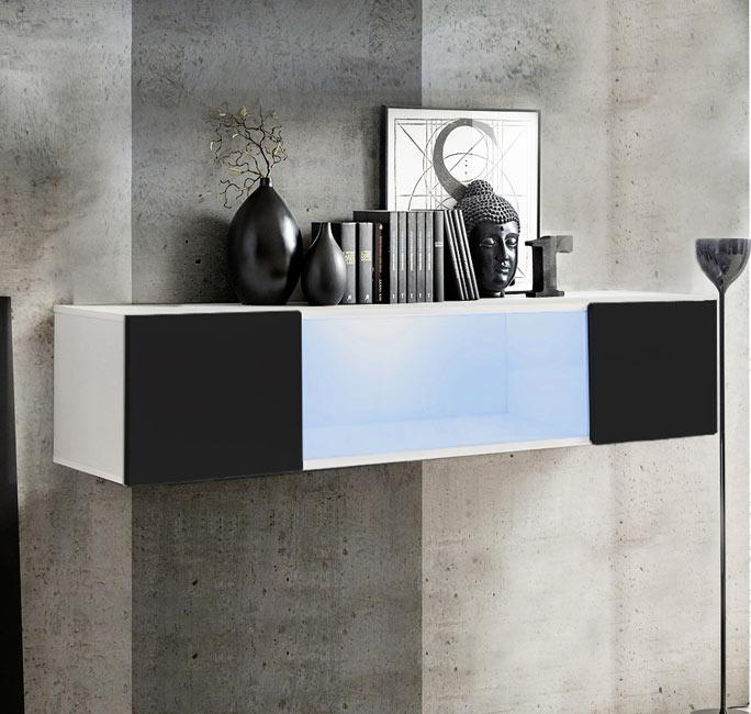 muebles bonitos Armario Colgante Modelo Krista H150CC 160x30cm en Blanco y Negro