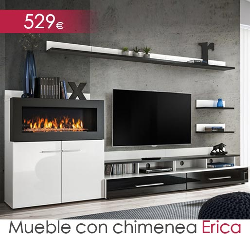Mueble de salón con chimenea modelo Erica