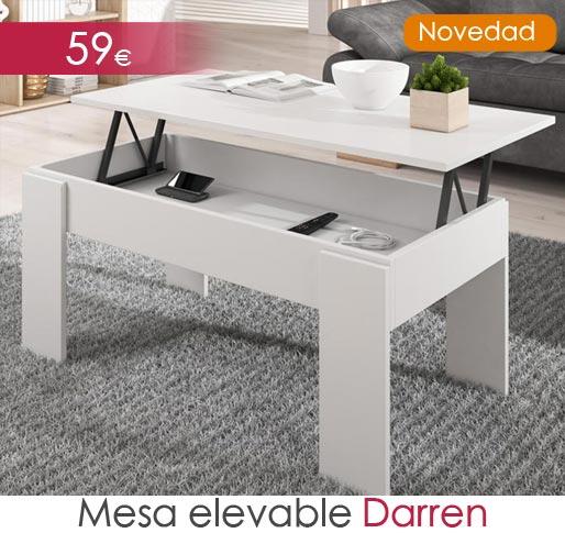 Mesa elevable blanca modelo Darren
