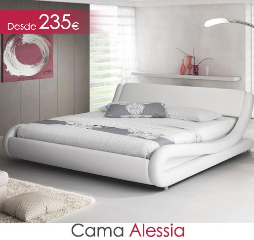 Cama Alessia en color blanco matrimonio