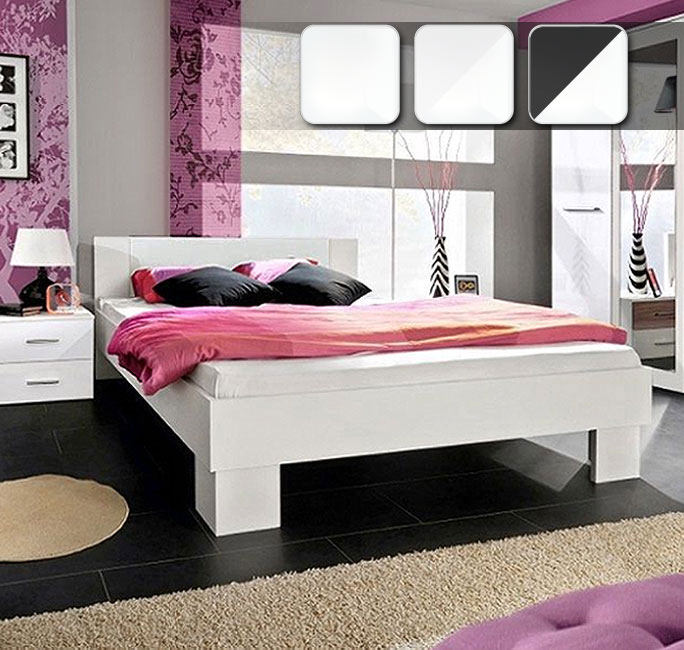 Cama económica de diseño modelo Barasi en color blanco
