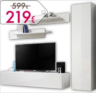 Conjunto de muebles de salón y televisión